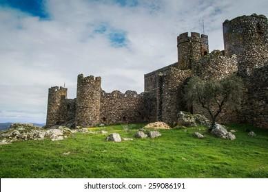 Ruins of a castle at Salvatiera de los Barros, Extremadura, Spain