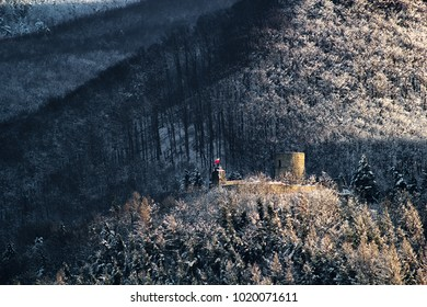 Ruins of Castle in winter at sunrise. Rytro Village, Poland.