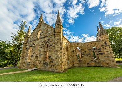 Ruins of the Church Convict, ancient historic church convict settlement, at Port Arthur Historic Site, Tasmania, Australia. Port Arthur until 1877 was a penal colony for prisoners. .