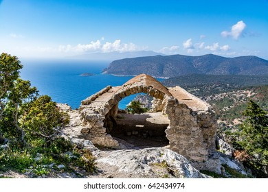 Ruins of a church in Monolithos castle and beautiful landscape view, Rhodes island, Greece