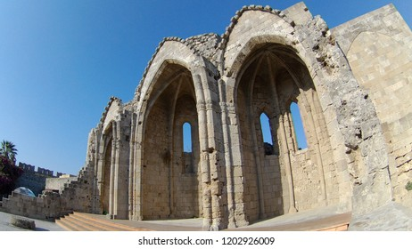 Ruins of the Church of the Virgin of the Burgh in the Old Town of Rhodes, Rhodes