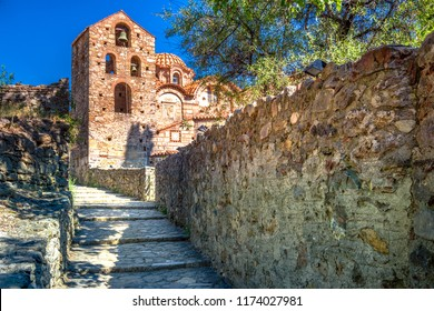 Ruins and churches of the medieval Byzantine ghost town-castle of Mystras, Peloponnese, Greece