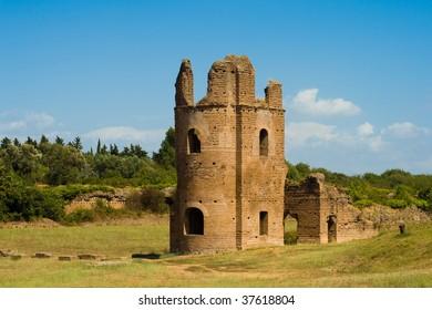 ruins of Circus of Maxentius castle, Via Appia Antica ,Rome