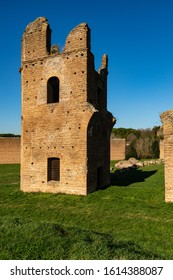 Ruins of the Circus of Maxentius at the Via Appia Antica. The lights and shadows of the building are reminiscent of the architectural landscapes of the painters Giorgio De Chirico and Mario Sironi.