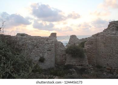 ruins citadel in Ashdod in israel
