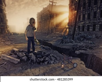 ruins of a city with and the boy  in the street. Photo combination  concept