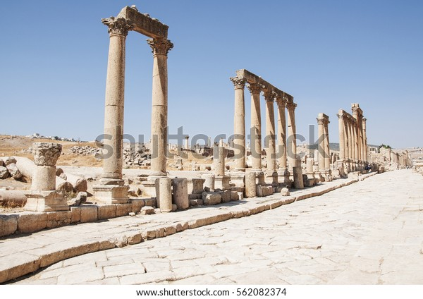 ruins-city-jerash-jordan-600w-562082374.