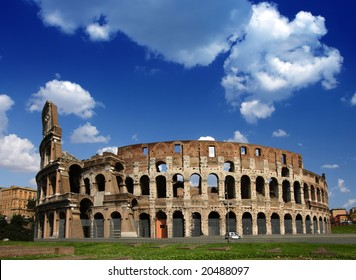 Ruins of the Collosseo of an ancient Roman construction for entertainments.