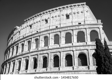 The ruins of the Colosseum are the hallmark of Rome B&W