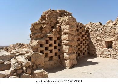 Ruins of columbarium tower at Masada, Israel