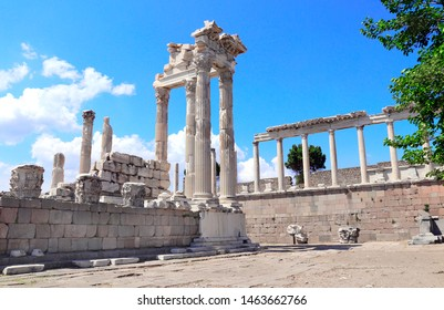 Ruins and columns of Temple of Trajan at Acropolis of Pergamon, Turkey. UNESCO world heritage site