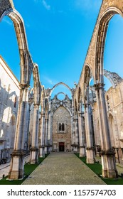 Ruins of the Convent of Our Lady of Mount Carmel (Convento do Carmo) in Lisbon on a sunny Winter morning.