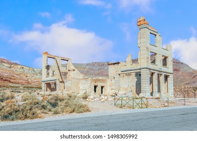 Ruins of the Cook Bank building in Rhyolite ghost town near Death Valley National Park. Nevada. USA
