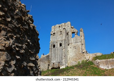 The ruins of Corfe Castle in Dorset, England, UK.
