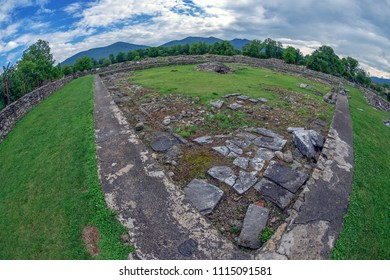 Ruins of the the court of the Roman Forum of the antique province Dacia Apulensis, Sarmizegetusa, Hateg Country, Romania. It was founded around the years 106 to 110 d.Hr.
