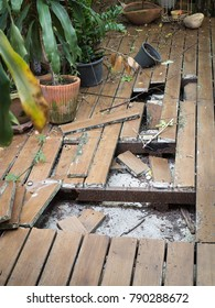Ruins Cracked wooden floor and metal steel with rust