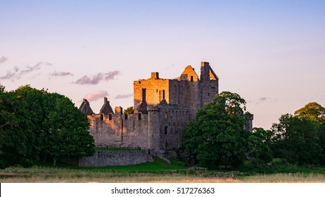The ruins of Craigmillar Castle at sunset in the outskirts of Edinburgh. Scotland, UK