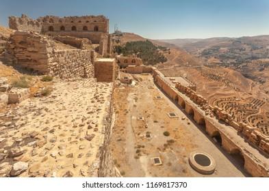Ruins of crusader castle Kerak  (Al Karak),  Jordan