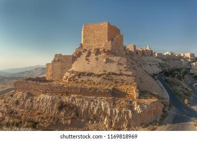Ruins of crusader castle Kerak  (Al Karak) on the hill, Jordan