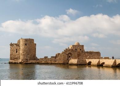 Ruins of the crusaders castle in Sidon (Saida), Lebanon