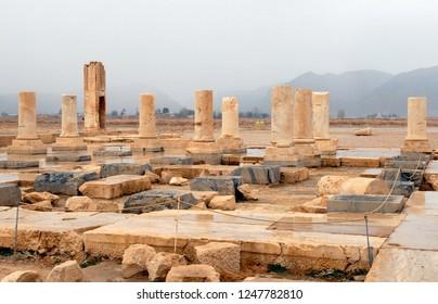 Ruins of Cyrus's Palace (6th century BC). Pasargadae, Iran