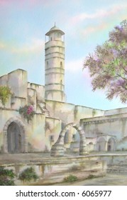 "Ruins of David's Temple Citadel, Jerusalem, Israel; 50x70 cms. = 20""x28"" # 94-074"