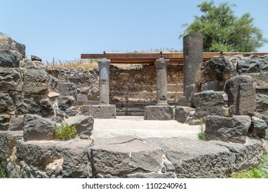 Ruins of the Dir Aziz Synagogue, built in the Byzantine period, at the beginning of the sixth century AD. It is located on the Golan Heights in Israel.