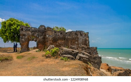 The ruins of the Doric, a British Colonial Governors house built to protect and control the pearling industry until it was gone. Mannar, Sri Lanka