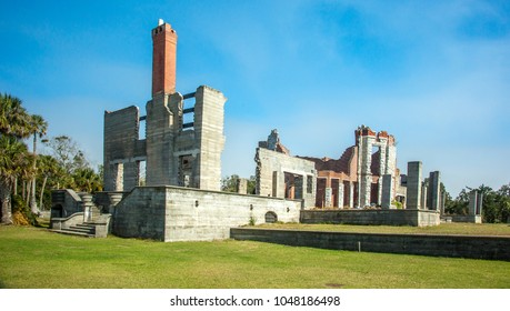 The ruins of Dungeness.  Dungeness on Cumberland Island, Georgia, is a ruined mansion that is part of a historic district that was the home of several families significant in American history.