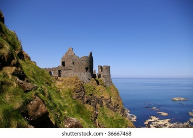 Ruins of Dunluce castle, Northern Ireland in summer