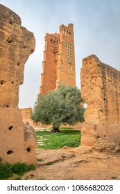 Ruins of El Mansourah mosque with minaret in Tlemcen, Algeria