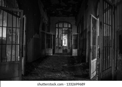 Ruins of Ferri building, the judicial psychiatric hospital special area of abandoned asylum of Volterra (manicomio di Volterra), Tuscany, Italy 18/12/2011. This hospital was shut down in 1978