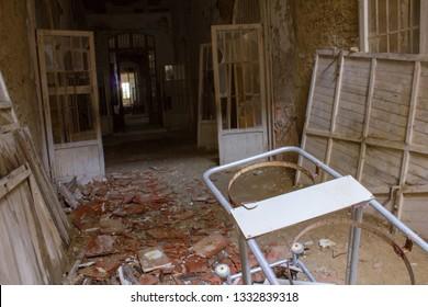 Ruins of Ferri pavillon, the judicial psychiatric hospital special area of abandoned asylum of Volterra (manicomio di Volterra), Tuscany, Italy 18/12/2011. This hospital was shut down in 1978