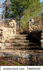 ruins of former hotel entrance Rush Arkansas stairs lead into woods now