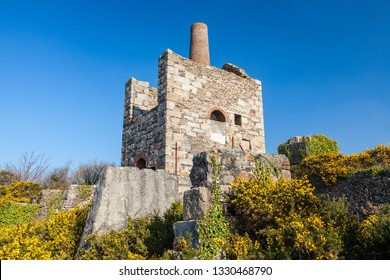 Ruins of former mine buildings at Wheal Peevor near  Redruth Cornwall, part of the Cornish Mining World Heritage Site. England UK Europe