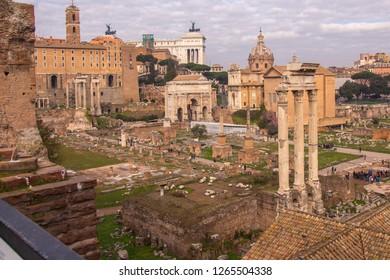 Ruins of Foro Romano (Roman Forum) in Rome - Italy.