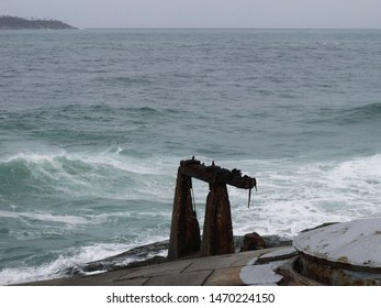 ruins of the fort and in the background the sea of Copacabana beach Rio de Janeiro - Brazil