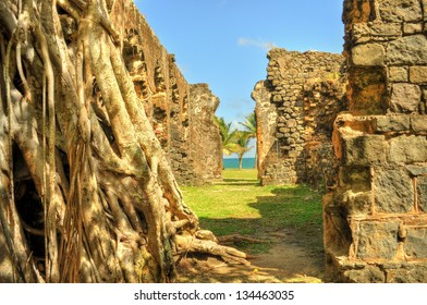 Ruins in Fort Rodney on Pigeon Island, Saint Lucia, Caribbean