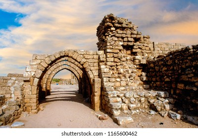 Ruins of a fortress Avdat, Israel historical site in the Judean desert.