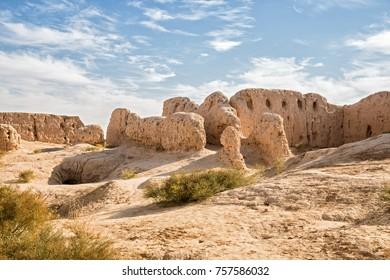 Ruins of the Fortress Kyzyl-Kala of Ancient Khorezm in Kyzylkum desert, Uzbekistan