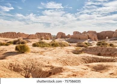 Ruins of the Fortress Kyzyl-Kala of Ancient Khorezm in Kyzylkum desert. Uzbekistan