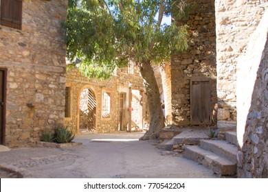 Ruins of the fortress on Spinalonga island. Elounda, Crete, Greece.