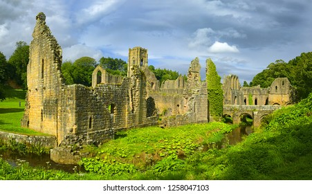 The ruins of the Fountains Abbey, Studley Royal, North Yorkshire, Ripon, England - UNESCO World Heritage site
