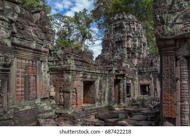 Ruins of galleries of ancient Khmer temple Preah Khan built in 12th century, near Angkor Wat, Siem Reap, Cambodia