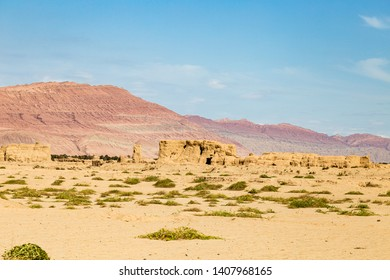 Ruins of Gaochang, Turpan, China. Dating more than 2000 years, Gaochang and Jiaohe are the oldest and largest ruins in Xinjiang. The Flaming mountains are visible in the background