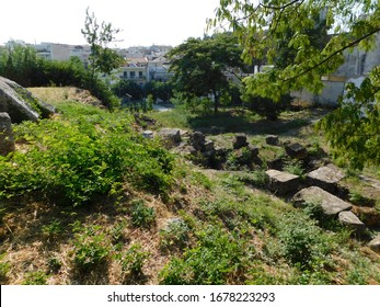 Ruins of Electra's gates of ancient Thiva, or Thebes, in Greece. Oedipus' sons dueled in front of them