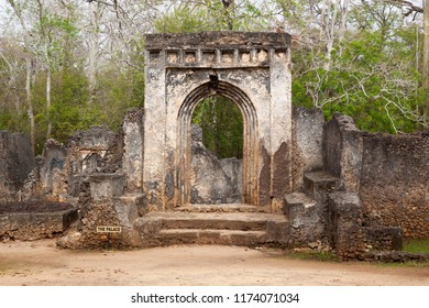 RUINS OF GEDE, WATAMU, KENYA, AFRICA - FEBRUARY 22nd 2018: The ruins of the Swahili town of Gede founded in the 12th century