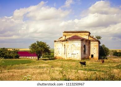 ruins of the German kirkh in village Kamenka, Odessa region, Ukraine