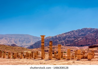 Ruins of the Great Temple in the ancient city of Petra Jordan Asia