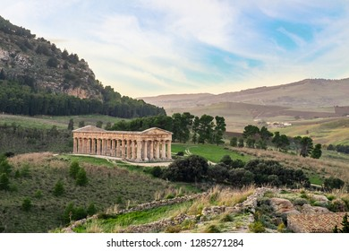 Ruins of Greek temple in ancient city of Segesta, Sicily